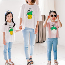 Pineapple Large Fat Tshirt Family Clothing Mom Girl Boy Tee Family Matching Clothing Family Set Women Tee Kid Tee White Pink SY7