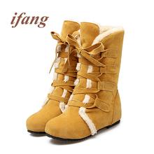 Ifang Media Pantorrilla botas Mujeres Botas de Invierno en el interior de algodón Nieve botas de Mujer Zapatos de las mujeres Botas Botas de Mujer de las mujeres 34-52(China (Mainland))