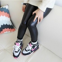 2015 New Girls Spring Summer Leather Leggings Childrens Cotton Leggings Kids High Quality Casual Pants Fashion