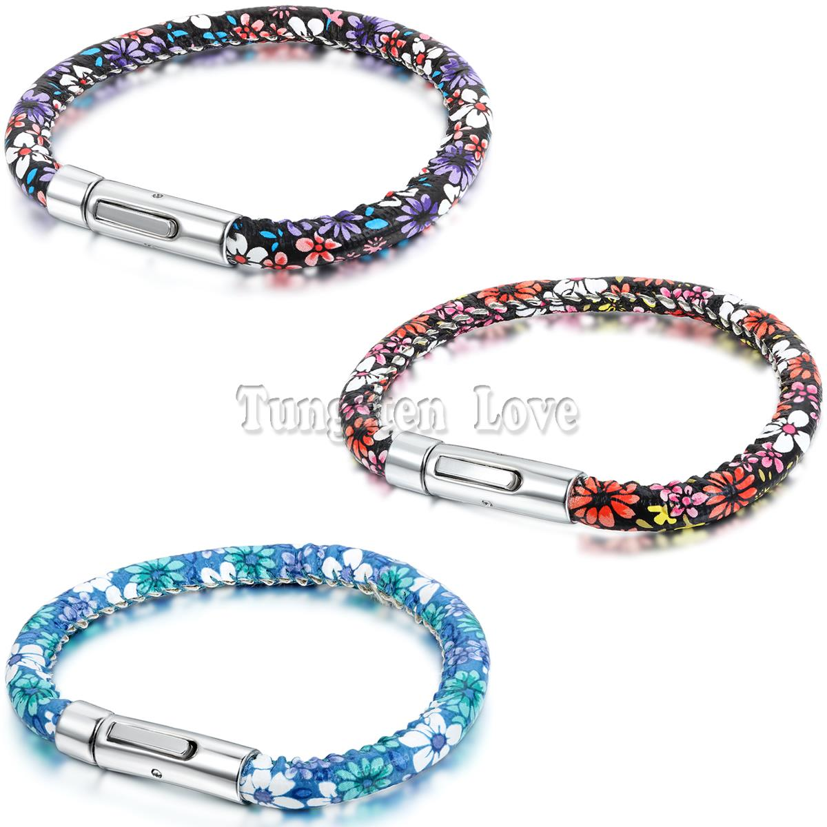 New Arrival Fashion Jewelry PU Leather Bracelet Colorful Flowers Bracelets For Women Best Friend Gift pulseira masculina couro(China (Mainland))