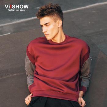 Прохладный Viishow красное вино о-образным вырезом лоскутная толстовки милый бренд хип-хоп пуловеры толстовки мужчины толстовка верхняя одежда куртка