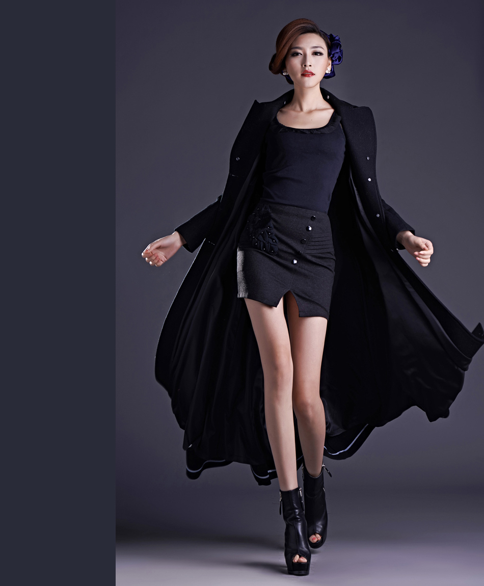 2014 new black wool coat woolen long coat Slim was thin in Europe and America minimalist special offer free shipping