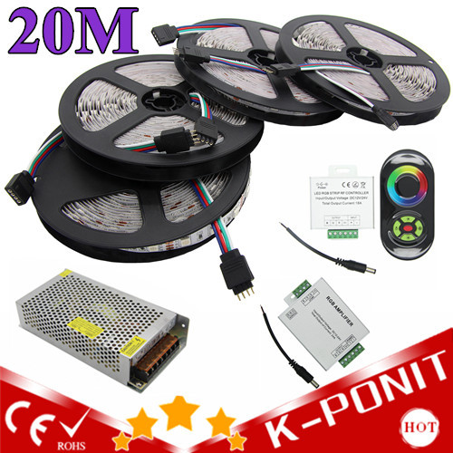 5M/Roll 20M 5050 RGB strip light 60Leds/M SMD Flexible Led Strip+18A Wireless Touch Remote Controller+24A Amplifier+20 A Power(China (Mainland))