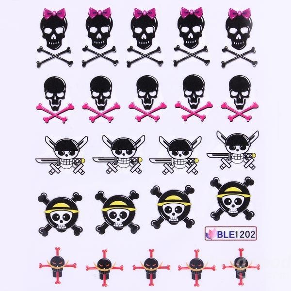 Trustmart Mixed 11 Styles BLE1192-1202 Skull Nail Art Decals Water Stickers(China (Mainland))