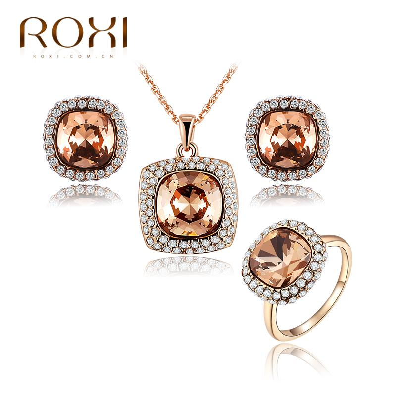 2016 Newest jewelry sets  bridal jewelry sets crystal rose gold plated necklace+earrings+ring crystal jewelrys set