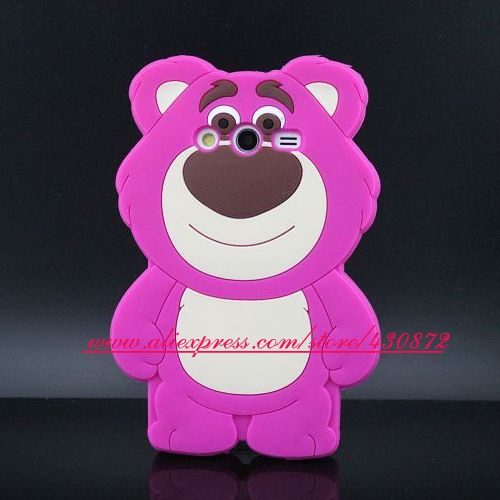 Hot 3D Silicon Strawberrybear Cute Case for Samsung Galaxy Core 2 G355H Soft Cell Phone Back for Samsung Galalxy Core 2 Cover(China (Mainland))