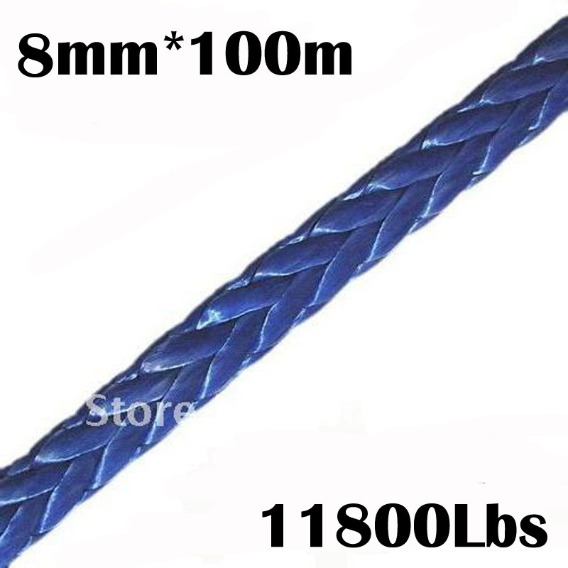 New Strong 100% UHMWPE Synthetic Winch Cable/Rope 8MM*100Meter for 4WD/ATV/UTV/SUV Winch Use////free shipping