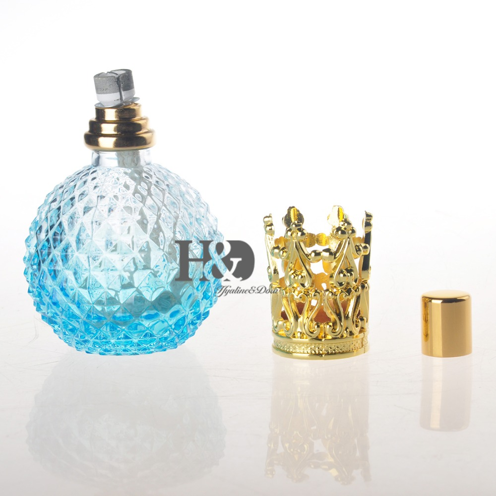 Empty Light Blue Perfume Bottle With Gold Capsule Refillable Perfume Glass Bottle(China (Mainland))