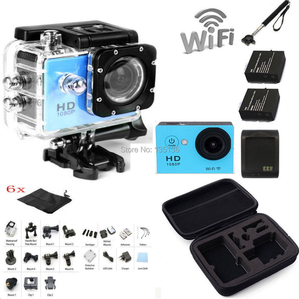 Monopod + Bag + Battery Charger + SJ6000 2.0  LCD WIFI 1080P HD Sports Action Camera DVR Video Waterproof Camera DV  W9 Blue<br><br>Aliexpress
