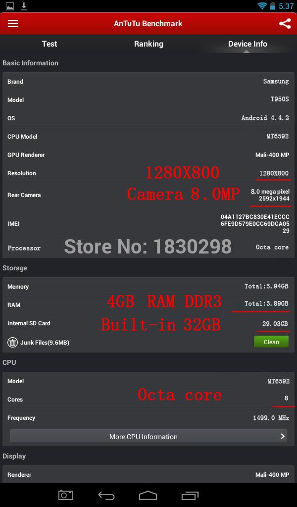 10 inch 8 core Octa Cores 1280X800 IPS DDR3 4GB ram 16GB 8 0MP 3G Dual