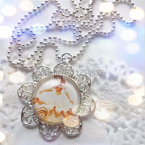 Belle princess 10pcs/lot Hot sale girls charm Alloy pendant necklace jewelry cartoon girls chain necklace for party gift!!(China (Mainland))