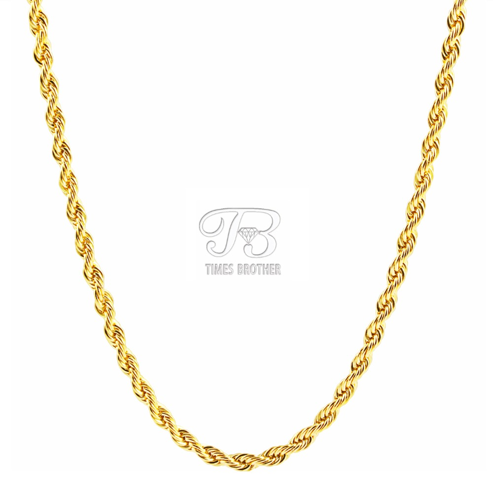 Stainless Steel Gold Necklace 18K Gold Plated Rope Chain Necklace Hiphop Men Jewelry(China (Mainland))