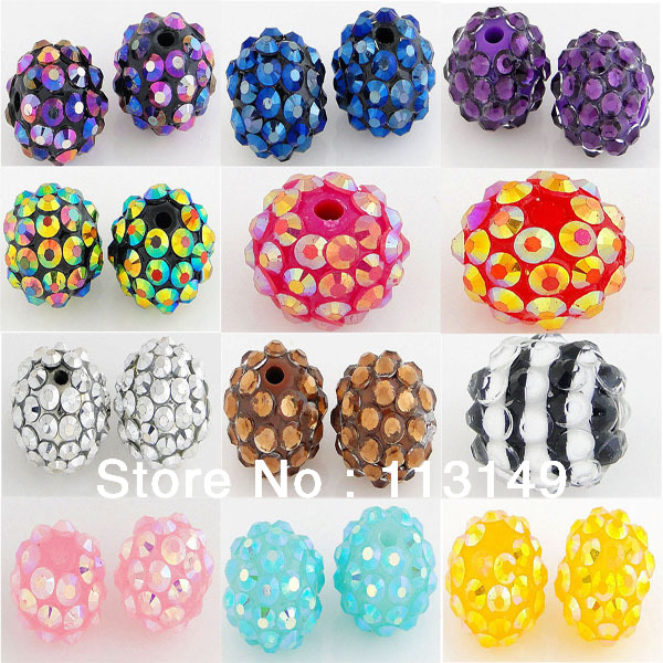 12mm 20pcs Free Shipping Sky Blue Resin Shamballa Round Crystal Beads Bling Bling Disco Ball Charms Beads BRB-006A