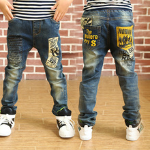 2016 Newest Spring and Autumn Children's  trousers,Kids baby Letter stitching Pants boy's Casual Jeans(China (Mainland))