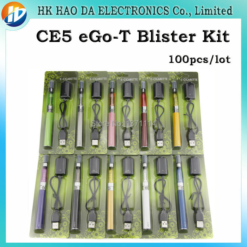 Ego Ce5 Blister electronic cigarette Kits with ego-t Battery CE5 liquid atomizer cigarro eletronico best e cigarette 100pcs/lot(China (Mainland))