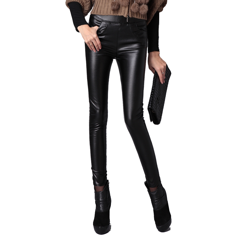 Unique Women Leather Pants Female Slim Plus Size Velvet Elastic Tight Pants