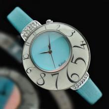 Lady Woman Wrist Watch Quartz Shell Hours Best Fashion Dress Korea Leather Bracelet Band Ice Cream Blue Girl Gift Birthday 504(China (Mainland))