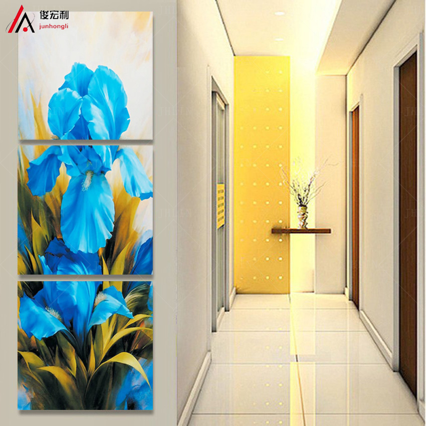3 Pcs/Set Modern Wall Paintings Flower blue Tulip Canvas Print Home Decoration Wall Pictures For Living Room High Quality(China (Mainland))