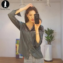 Today Plus 2017 New Fashion Wo men Blouse Sexy Satin Simple Turn-down Neck Loose Long Sle eve Chic Ladies Casual Shirt Blusa(China (Mainland))
