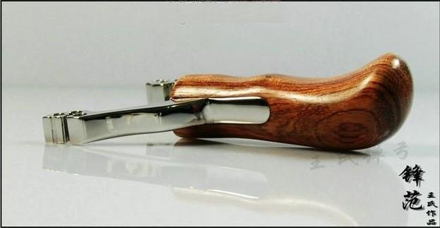 6 Holes Rosewood Handle Stainless Steel Slingshot/catapult+Free shipping(China (Mainland))