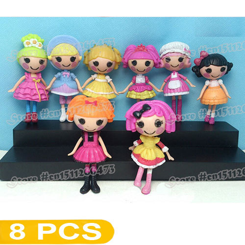 "8 PCS/Set Mix Styles Baby Toys Lalaloopsy Mini Dolls Button Eyes PlayHouse Action Figure Collection Grinquedos Approx 8cm/3""(China (Mainland))"