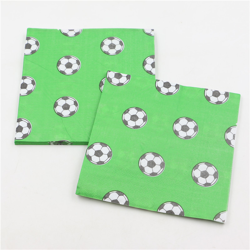 33*33cm Kids Boys Happy Birthday Party Supplies Football/Soccer Printed Paper Napkins Baby Shower Tissues Favors 20pcs/pack(China (Mainland))