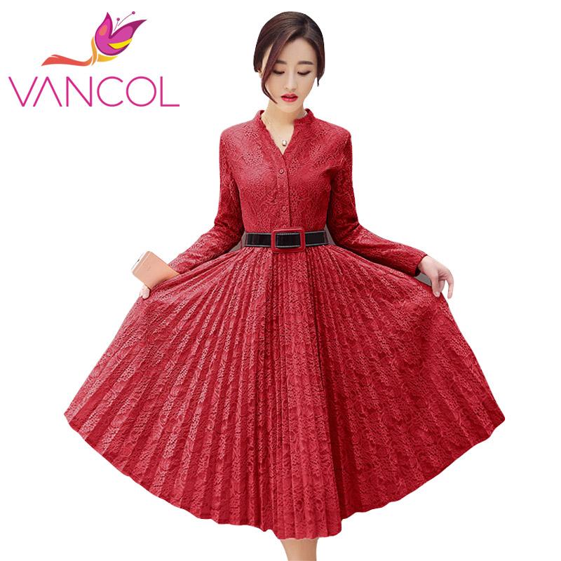 Vancol New 2016 Sumemr Women Sexy Lace  Dresses Formal OL Working Elegant Dress Long Sleeve Party Vestidos