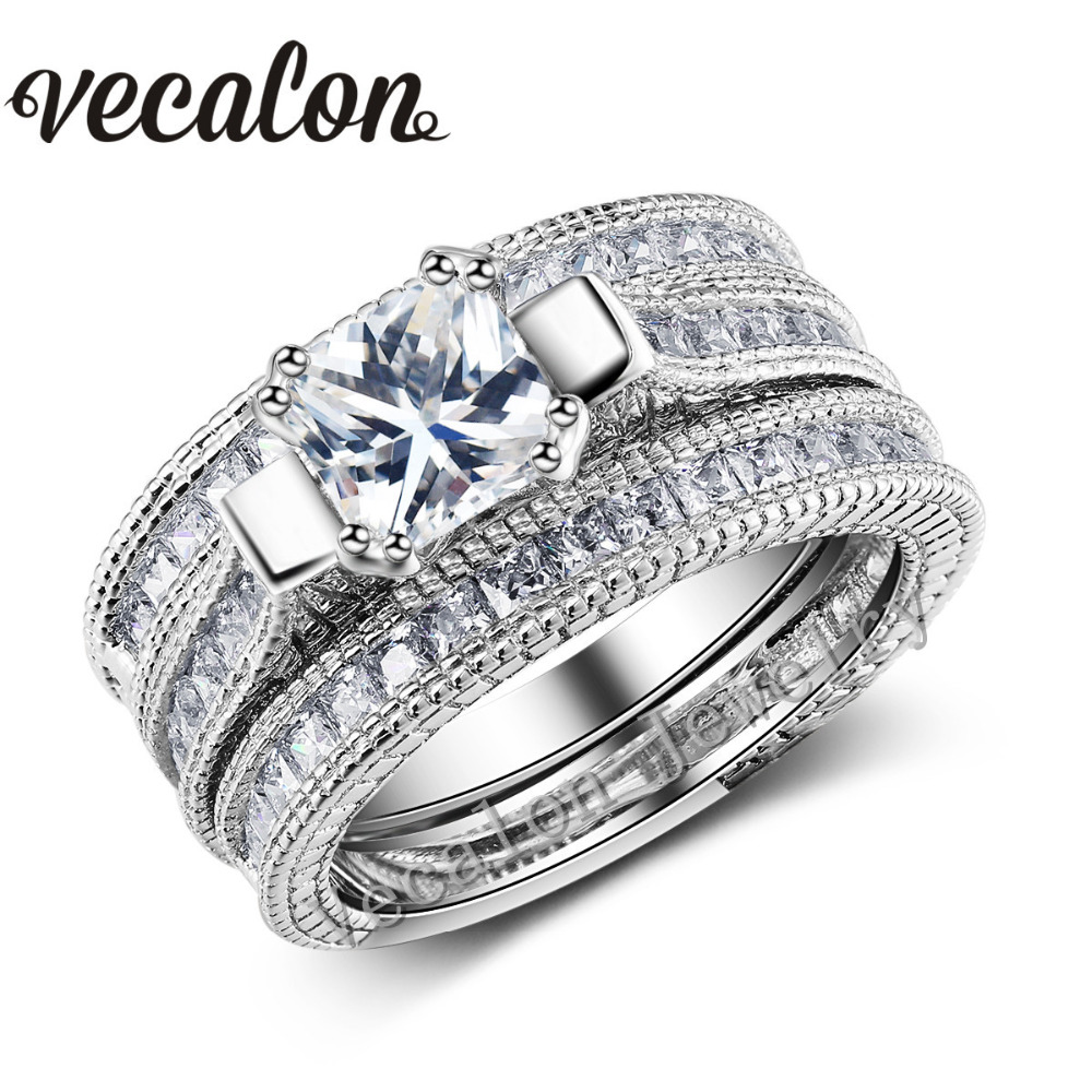 Vecalon Full Princess cut 10ct Simulated diamond cz 3-in-1 Engagement Wedding Band Ring Set for Women 14KT Gold Filled ring(China (Mainland))