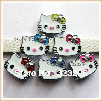 Free shipping DIY Crystal Rhinestone Metal Floating Slide Hello Kitty Head Charm Accessory fit 8mm Bracelet for Bands Decoration