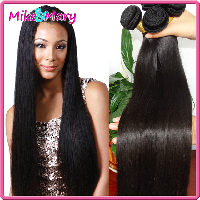 Brazilian Straight Human Hair Bundles 7A Unprocessed Virgin Hair 3 Bundles Double Weft Mike and Mary Human 3pcs Natural Black