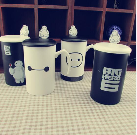 New Fashion Big hero 6 Creative Cartoon Baymax ceramic coffee Mug With cover and spoon ceramic milk cup(China (Mainland))