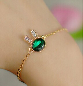 SL083 Latest Fashion Sea Green Blue Bunny Control Rabbit Imitation Gem Diamond Bracelet Fine Jewelry Factory Direct(China (Mainland))