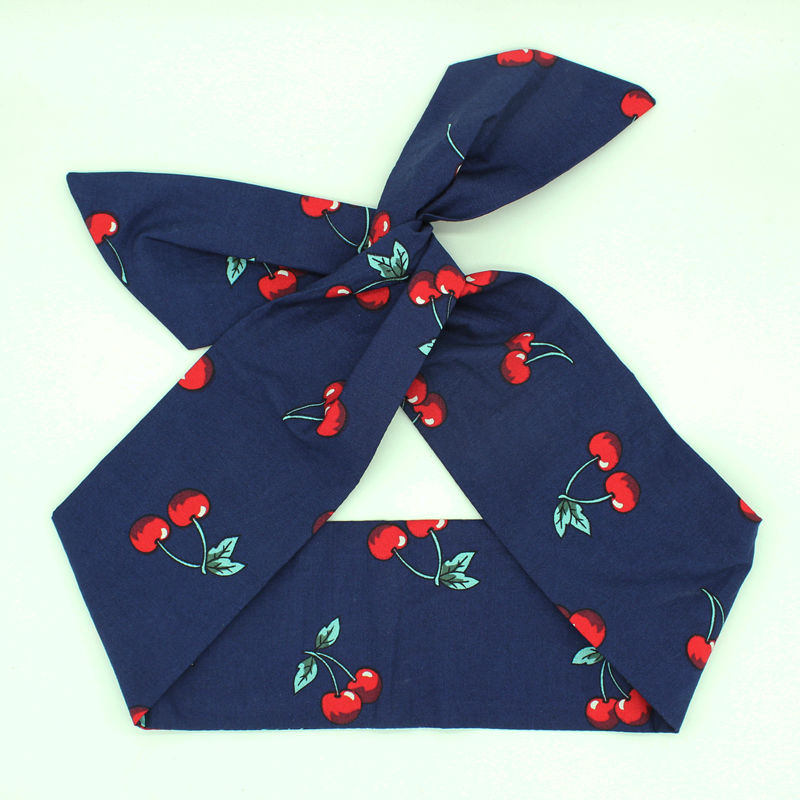 Retro Cherry Berry Headband Vintage Black Headscarf 1950's Pinup Hair Scarf(China (Mainland))