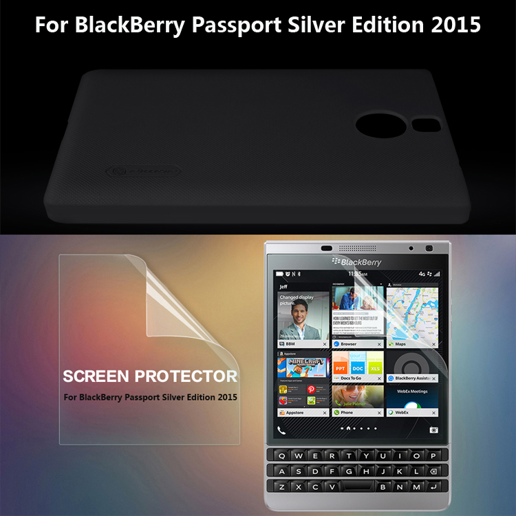 Black Nillkin Hard Skin Case Cover For BlackBerry Passport Silver Edition 2015 + Screen Film Protector Free shipping(China (Mainland))