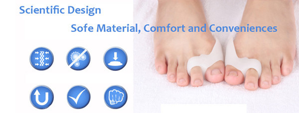 2 pcs/pair Silicone Gel foot fingers Two Hole Toe Separator Thumb Valgus Protector Bunion adjuster Hallux Guard feet care