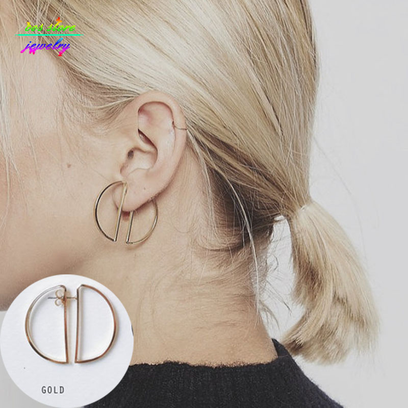 2016 New Charms Minimalist Simple Double D Semi Circle Light Gold Stud Earrings For Women Modern Everyday Jewellery Earring(China (Mainland))
