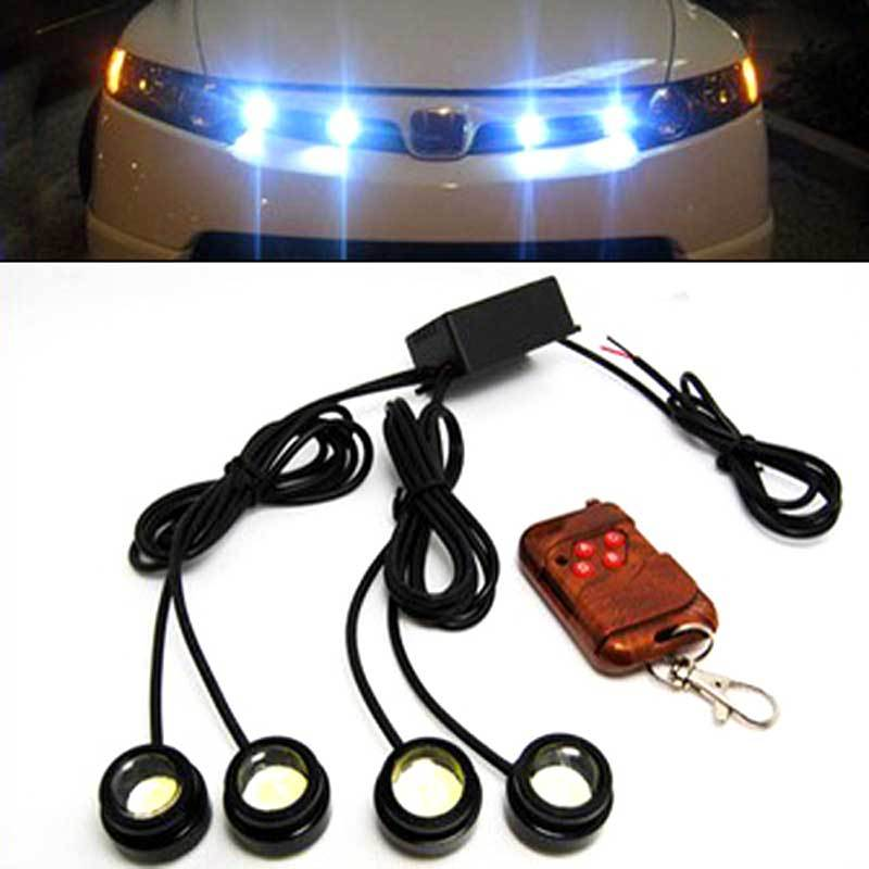 48W 4 lamp + 1 wireless controller led running lights daytime Grille Aux Car Head lamp Strobe flashing Round DRL Waterproof(China (Mainland))