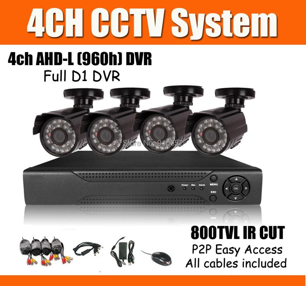 4CH 800TVL AHD-L DVR Kit CCTV System 800TVL IR CUT Outdoor Camera 4ch AHD-L (960H) Full D1 DVR P2P Mobile Phone Monitor Network(China (Mainland))