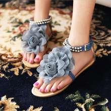 Big size 34-43 2016 Gladiator Sandals for Women Bohemia Beaded Summer Flower Flat Heels Flip Flops Women's Shoes Tstraps Sandals(China (Mainland))