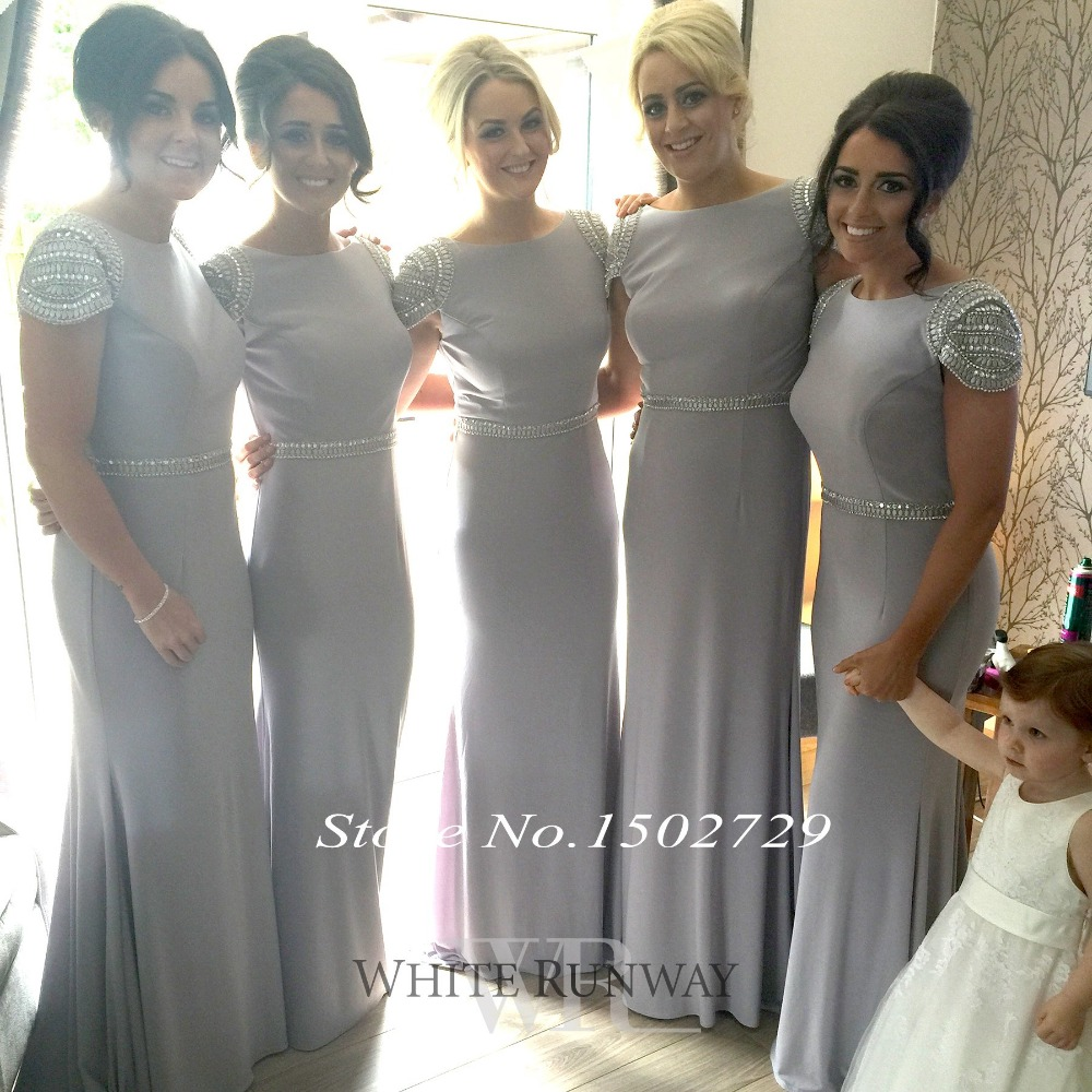 Wedding Grey Bridesmaid Dress compare prices on grey bridesmaid dress mermaid online shopping saudi arabic silver dresses plus size long wedding formal to party cap