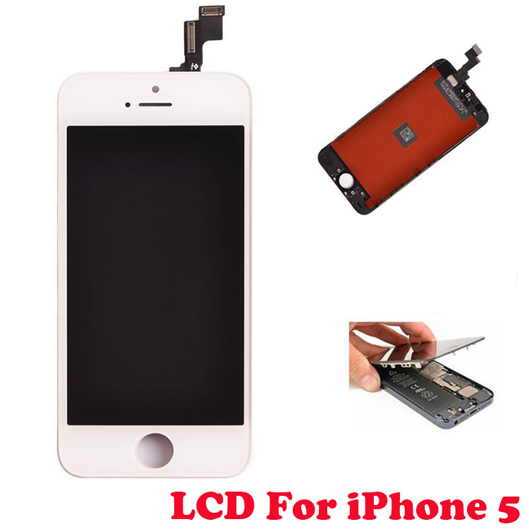 For Iphone 5 Lcd Complete Display and Touch Screen Digitizer Assembly+Home Button+Front Camera With Free Tools Black And White(China (Mainland))