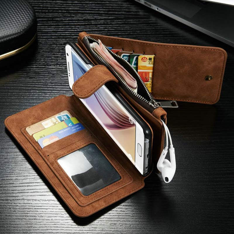 CaseMe Second Layer Leather Case for Samsung Galaxy S6 Edge Plus New Multi Functional Stand Wallet Cover High Quality