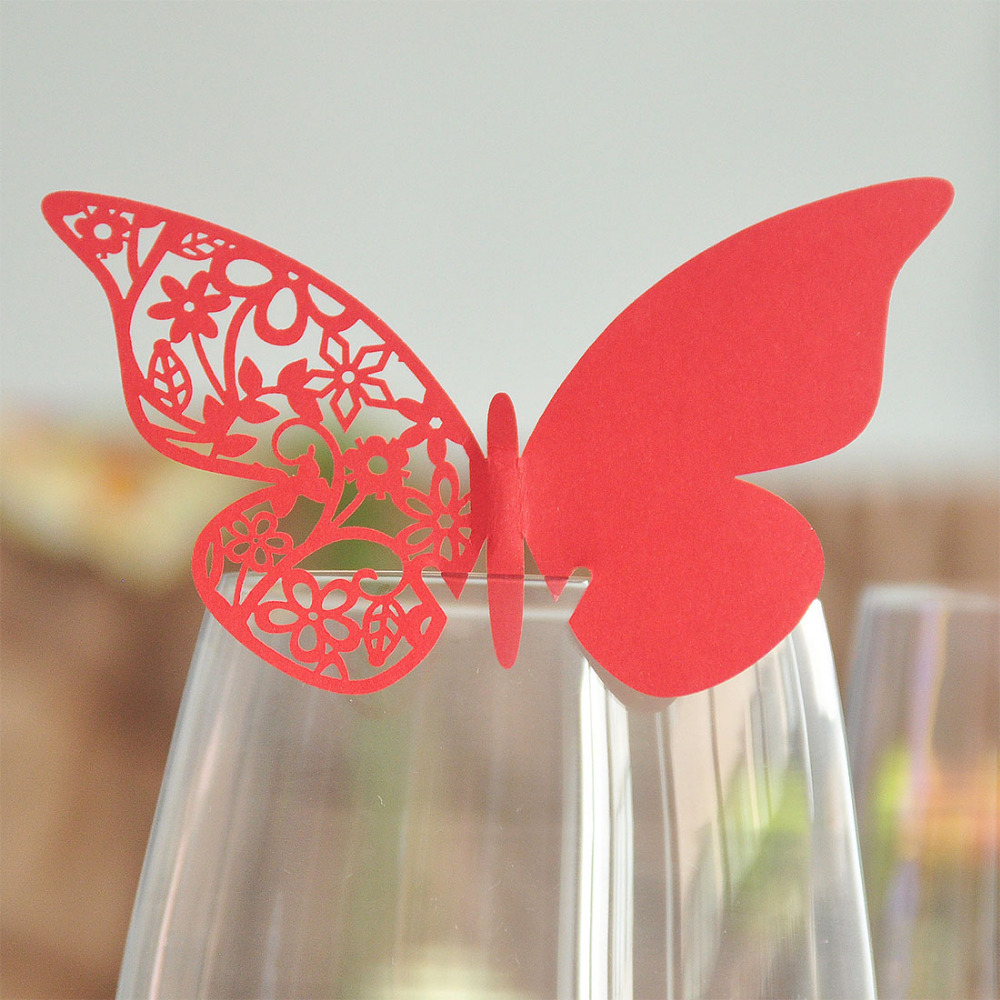 12pcs Red Butterfly Shaped Laser Cut Paper Place Card Escort Card Cup Card Wine Glass Card