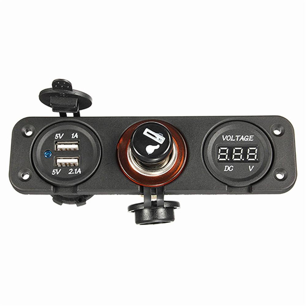 ถูก แบรนด์ใหม่ยี่ห้อรถใหม่อิเล็กทรอนิกส์รถPower &ชาร์จแบบDual USB A Dapterชาร์จดิจิตอลโวลต์มิเตอร์ไฟแช็กซ็อกเก็ต
