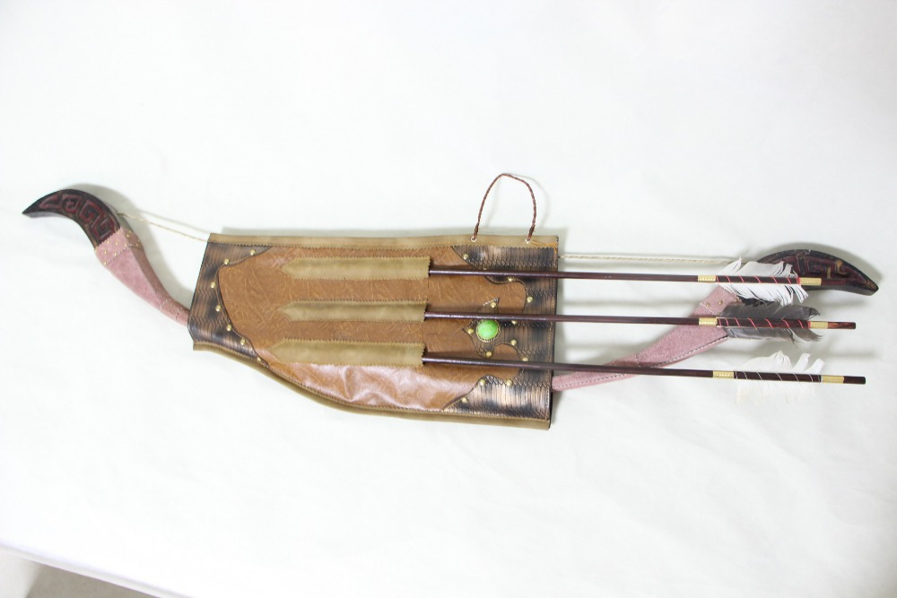 Mongolia nationality characteristic arch snakeskin bow and three arrow and quiver WFS A free shipping