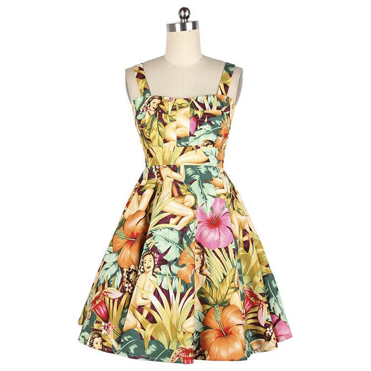 Girl Summer 50s 60s Vintage Dresses Hawaiian Girl Floral High Waist Retro 50s 60s Spaghetti Strap Dress Vestido de Festa(China (Mainland))