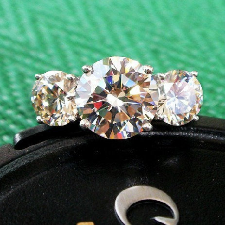 14K Gold 3 Stones Ring Paved Mounting 1.7CT SONA Synthetic Diamond Engagement Ring Bride Gold 14K Genuine Jewellery Graceful(China (Mainland))