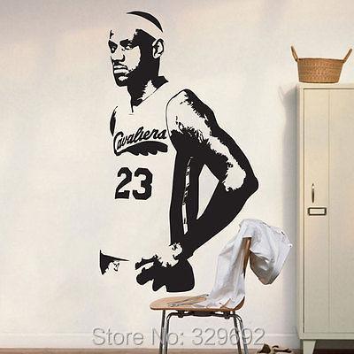 BASKETBALL LeBRON JAMES NBA WALL DECAL DECOR STICKER Wall Stickers Bedroom Decor tx-408(China (Mainland))