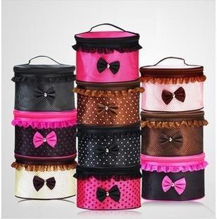women makeup case beautiful lace zipper cosmetics bag foldable large capacity Organizer fashion storage bags pouch box wholesale(China (Mainland))