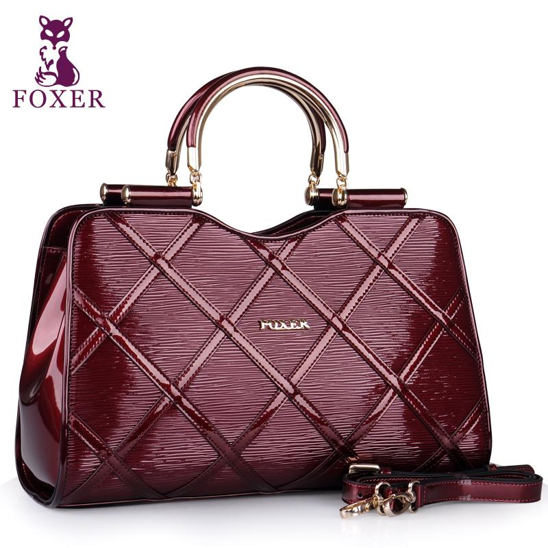 FOXER new 2017 women leather handbags cowhide handbag fashion shoulder bags famous brands tote vintage women messenger bags